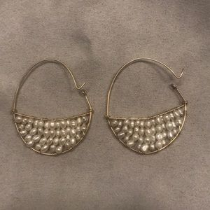 14K gold and freshwater pearl earrings